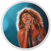 Tina Turner 3 Round Beach Towel by Paul Meijering