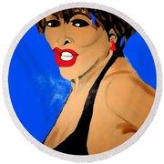 Tina Turner Fierce Blue Impression Round Beach Towel
