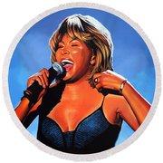 Tina Turner Queen Of Rock Round Beach Towel
