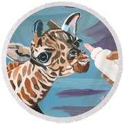 Tiny Baby Giraffe With Bottle Round Beach Towel