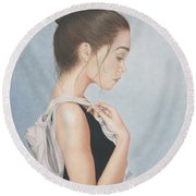 Round Beach Towel featuring the painting Tiny Dancer by Dee Dee  Whittle