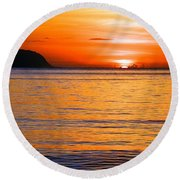 Tip Of The Sun Round Beach Towel