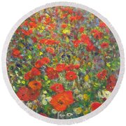 Tiptoe Through A Poppy Field Round Beach Towel