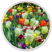 Tiptoe Through The Tulips Round Beach Towel by Elizabeth Dow
