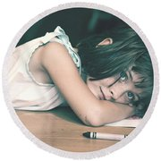 Tired Girl By Jan Marvin Round Beach Towel