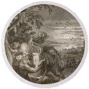 Tithonus, Auroras Husband, Turned Into A Grasshopper Round Beach Towel by Bernard Picart