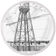 Tivoli Water Tower Round Beach Towel
