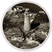 To Light The Graves Black And White Round Beach Towel