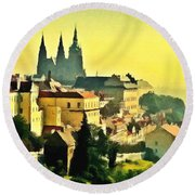 To Prague With Love... Round Beach Towel