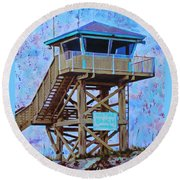 Round Beach Towel featuring the painting To The Beach by Deborah Boyd