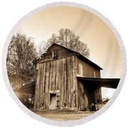 Tobacco Barn In Sunset Round Beach Towel