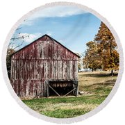 Round Beach Towel featuring the photograph Tobacco Barn Ready For Smoking by Debbie Green