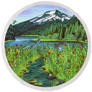Todd Lake Mt. Bachelor Round Beach Towel