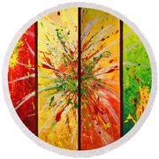 Abstract Assembled Into One Image Round Beach Towel