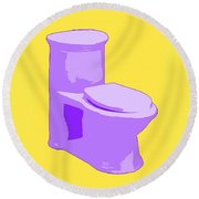 Toilette In Purple Round Beach Towel