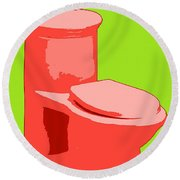 Toilette In Red Round Beach Towel
