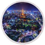 Tokyo Dreamscape Round Beach Towel