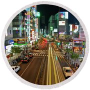 Round Beach Towel featuring the photograph Tokyo Neon Streaks by Jonah  Anderson
