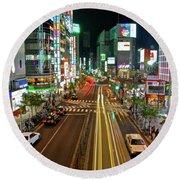 Tokyo Neon Streaks Round Beach Towel by Jonah  Anderson