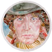 Tom Baker Doctor Who Watercolor Portrait Round Beach Towel by Fabrizio Cassetta