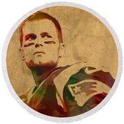 Tom Brady New England Patriots Quarterback Watercolor Portrait On Distressed Worn Canvas Round Beach Towel