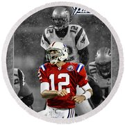 Tom Brady Patriots Round Beach Towel