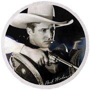 Tom Mix Portrait Melbourne Spurr Hollywood California C.1925-2013 Round Beach Towel