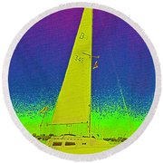 Tom Ray's Sailboat Round Beach Towel by First Star Art