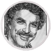 Tom Selleck In 1984 Round Beach Towel