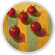 Tomatoes Round Beach Towel by Cathy Locke