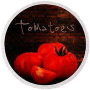 Tomatoes II Round Beach Towel by Lourry Legarde