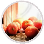 Tomatoes In An Old Barn Round Beach Towel