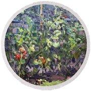 Tomatoes In Viola's Garden  Round Beach Towel