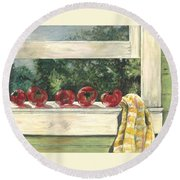 Tomatoes On The Sill Round Beach Towel