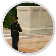 Tomb Of The Unknown Soldier Round Beach Towel by Kim Hojnacki
