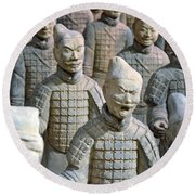 Round Beach Towel featuring the photograph Tomb Warriors by Robert Meanor