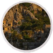 Tombs On A Cliff, Lycian Rock Tomb Round Beach Towel