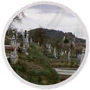 Tombstone In A Cemetery, Saxon Church Round Beach Towel