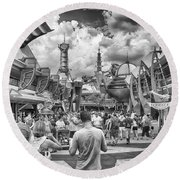 Round Beach Towel featuring the photograph Tomorrowland by Howard Salmon