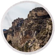 Round Beach Towel featuring the photograph Tongue River Canyon by Michael Chatt