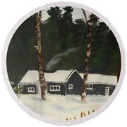 Tonys House In Sweden Round Beach Towel