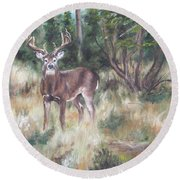 Round Beach Towel featuring the painting Too Tempting by Lori Brackett