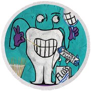 Round Beach Towel featuring the painting Tooth Pick Dental Art By Anthony Falbo by Anthony Falbo