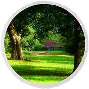 Round Beach Towel featuring the photograph Tootsie's Barn by Lanita Williams