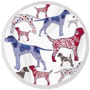 Top Dogs Round Beach Towel by Sarah Hough