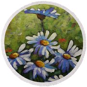 Top Of The Bunch Daisies By Prankearts Round Beach Towel