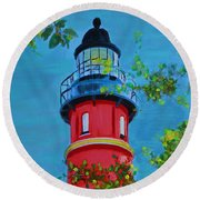 Round Beach Towel featuring the painting Top Of The House by Deborah Boyd