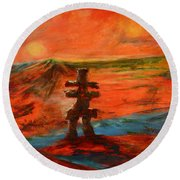 Round Beach Towel featuring the painting Top Of The World by Sher Nasser