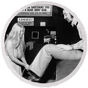 Topless Shoeshine Girl Round Beach Towel