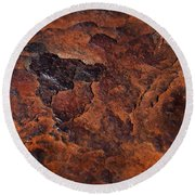 Topography Of Rust Round Beach Towel